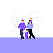 Flat illustration of a queer family with kids. Gay couple walking down the street with their children. Pride month concept