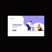 Flat illustration of a queer family. Lesbian couple teaching a toddler to walk. Webpage template. Pride month concept