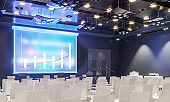 Conference hall. Collection. Meeting room. Presentation room. Modern big hall. 3d render