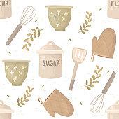 baking utensils seamless pattern