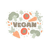 Vegan flat style illustration and lettering