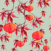 Red maple branch with paper lantern. Chinese holiday seamless pattern. Watercolor