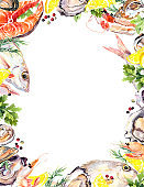 Seafood card: salmon fish, oysters, prawns, shrimps, mussel with lemon and parsley. Watercolor for sea food menu, poster