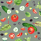 Food pattern with salad: tomatoes, fresh leaves, cucumbers, avocado and olives on grey background. Repeatable vegetarian pattern with watercolor vegetables