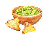 Bowl with guacamole and nachos isolated on white background. Watercolor food