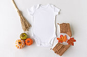 Plain white baby bodysuit vest mockup surrounded by autumn/fall baby props - baby clothing mockup