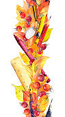 Pen, pencil, ruler - school supplies and autumn leaves. Seamless education border frame. Watercolor