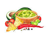 Guacamole in bowl and ingredients - avocados, tomatoes, red chilli pepper, lime, pepper peas, nachos. Watercolor food