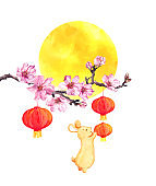 Small rabbit with red paper lantern. Cherry blossom, full moon. Watercolor card for mid autumn festival, Chuseok, New year holiday