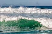 Large Turbulent Ocean Waves Off California Coast