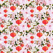 Holiday chinese lanterns in spring blossom - sakura flowers . Repeating pattern with asian ornament at background. Watercolor
