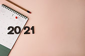 New Year 2021 calendar on pink background