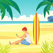 Ocean shore, tropical beach, sea coast. Sea waves. Surfer with a phone in his hands, on the sandy shore.
