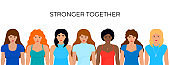 Stronger together horizontal banner. Girl Power, fight, protest, strength. Feminism concept. 8 march. International Women s Day.