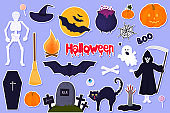 Big set of stickers for Halloween. Traditional characters and objects for creating invitations, cards, posters for celebration