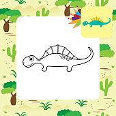 Cute cartoon dino coloring page