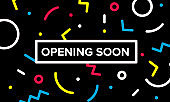 opening soon banner. Graphic design with geometric