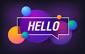 HELLO in design banner. vector template for web, print, presentation . Simple banner with minimal phrase. Trendy flat geometric print. Creative vector stock decoration.