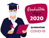 Graduation virtual ceremony during coronavirus quarantine. Class of 2020. A student in a protective medical mask holds a diploma in his hands. Greeting banner.
