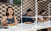Social distancing asian customer in restaurant.
