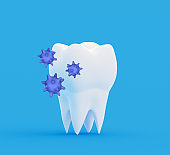 Tooth with abstract bacterias. Research and diagnosis of teeth diseases concept. 3d illustration