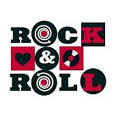 red and black rock and roll emblem isolated on white background