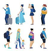 crowd of various traveling people with baggage