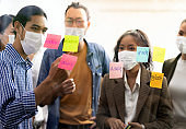 Interracial business team wear face mask brainstorm at new normal office