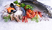 Fresh seafood on ice background, front view.