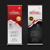 Indonesia Independence Day Celebration, roll up banner set design Vector Template Illustration