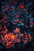 Hot coals in barbecue grill