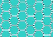 Abstract metal hexagon honeycombs on blue. Modern stylish texture. 3d illustration