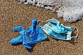 used surgical mask and gloves on the sand