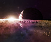 Beautiful Planet Saturn or Jupiter close-up with meteorites ring and sun in haze, 3d illustration
