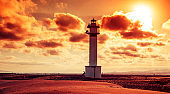 lighthouse at El Fangar, in the Ebro Delta, in Spain