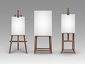 Set of Brown Wooden Easels with Mock Up Canvases
