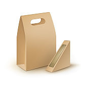 Set of Cardboard Handle Lunch Boxes For Sandwich