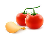 Vector Potato Chips with Red Tomato Isolated