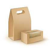 Vector Set of Brown Blank Cardboard Rectangle Take Away Handle Lunch Boxes Packaging For Sandwich, Food, Other Products