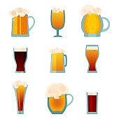 Beer glass mug set isolated on white. Oktoberfest drink symbol. Vctor illustration