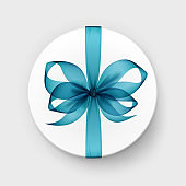 Vector White Round Gift Box with Transparent Light Blue Bow and Ribbon Top View Close up Isolated on Background