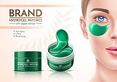 Vector realistic eye patches in cosmetics jar