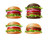 Vector 3d delicious burgers set, fastfood snack