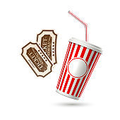 Vector retro cinema tickets soda paper glass