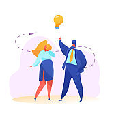Vector business man and woman creativity idea
