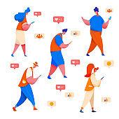 Vector people looking at phone social network