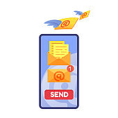 Vector email message notification in phone screen