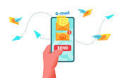 Vector email message sending in phone screen