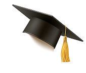 Vector realistic mortar board hat education hat