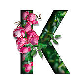 tropical flora flower font alphabet k design with paper cut style on white background